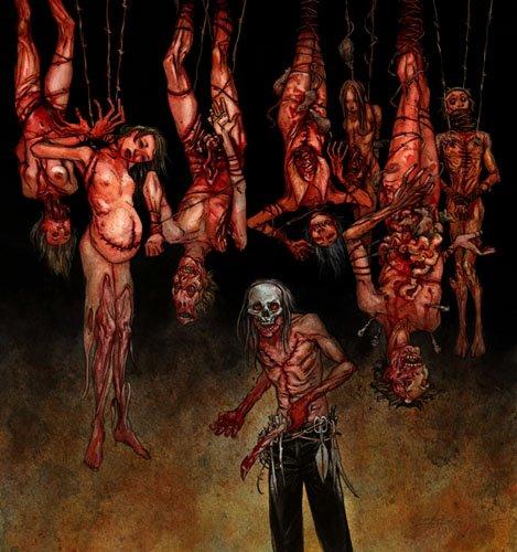 """Desenho do artista Vince Locke para capa do disco """"Torture"""", do Cannibal Corpse"""